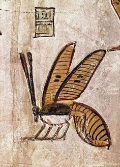 Relief of a honey beeDetail of a wall painting from the Tomb of Seti I New Kingdom, Dynasty, reign of Seti I, ca. Valley of the Kings, West Thebes. Ancient Egyptian Costume, Ancient Egyptian Paintings, Ancient Egypt Art, Egyptian Art, Ancient Artifacts, Egyptian Mythology, Egyptian Goddess, Ancient Aliens, Ancient Greece