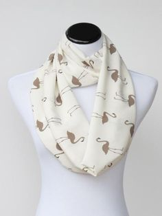 Mother's day gift Flamingo bird infinity scarf ivory cream
