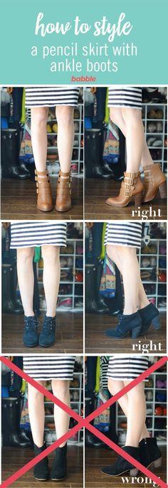 Ankle boots are one of those pieces that can be tricky to style. The most important thing about ankle boots is making sure they flatter your leg line. skirt with boots How to Style Your Pencil Skirts and Dresses with Ankle Boots Ankle Boots Outfit Winter, How To Wear Ankle Boots, Ankle Boots Dress, Winter Boots Outfits, Casual Boots, High Heel Boots, Ankle Boot Outfits, Flat Ankle Boots, Outfits With Boots
