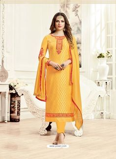 Yellow Brasso Georgette Kameez With Churidar 133268 Salwar Suits Party Wear, Dress Suits, Dresses, Salwar Suits Pakistani, Anarkali Suits, Salwar Suits Simple, Indian Outfits, Indian Clothes, Indian Ethnic Wear