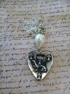 Silver Crowned Heart, Joan of Arc necklace, French Heraldic medal, ermine, Royal, Lilly, Fleur de Lys. baroque pearl, sterling silver, love, Vintage Pearls, Baroque Pearls, Royal Jewelry, Jewellery, Heart Crown, Joan Of Arc, Animal Jewelry, Sterling Silver Chains, Fashion Jewelry