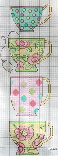 Cross stitch tea cups Cross Stitch Love, Free Cross Stitch Patterns, Cross Stitch Kitchen, Cross Stitch Needles, Cross Stitch Charts, Cross Stitch Designs, Cross Stitch Embroidery, Cross Stitch Bookmarks, Cross Stitching