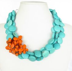 Turquoise and Orange Butterfly Necklace by ...