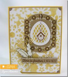 Time to feather a new nest? This card was created just for that reason...using new stamps from Waltzingmouse Stamps.