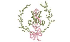 Embroidery Monogram Fonts, Applique Monogram, Monogram Frame, Monogram Design, Baby Monogram, Ribbon Font, Christmas Applique, How To Make Wreaths, Machine Embroidery Designs