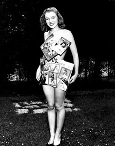 Norma Jeane (later Marilyn Monroe) dressed in her magazine covers, 1946