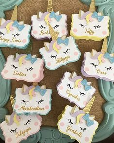 Unicorn food labels/place cards