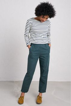 Buy Seasalt Nanterrow Trouser from the Next UK online shop Breton Stripes, Nautical Fashion, Nautical Style, Tapered Trousers, Ethical Clothing, Trousers Women, Casual Looks, Clothes For Women, My Style