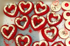 Red Velvet Hearts with Cream Cheese Frosting.