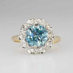 Retro 1.50ct t.w. 1950's Blue Zircon Diamond Halo Ring 14k | Antique & Estate Jewelry | Jewelry Finds