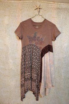 REVIVAL Women's Upcycled Boho TShirt Dress Tunic Shabby by REVIVAL