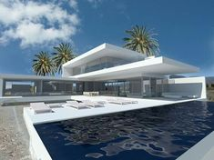 Golf Resort offers new development of three luxury villas of modern style, located in the Abama Golf Course. Minimalist Architecture, Modern Architecture House, Modern Buildings, Architecture Design, Modern Villa Design, Bungalow House Design, Modern House Plans, Tenerife, Exterior Design