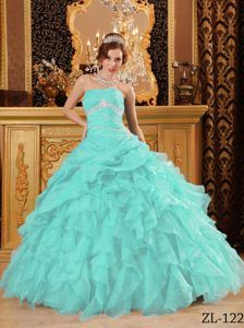 Angel Baby Blue Floor-length Organza Beaded Quince Dress with Ruffles