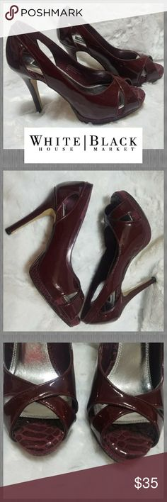 "👠WHITE HOUSE BLACK MARKET~6👠 EXCELLENT condition!! White House Black Market heels, size 6. These sumptuous suede & leather slingbacks are beautifully feminine in a SUPER sexy wine color. A touch of risque, with a snakeskin print. This peeptoe pump feels as beautiful as it looks! Breathable, no-slide lining Super-comfortable memory foam footbed. 4.25"" heel  & 1/2 platform.Natural, buffed leather sole scored for traction. Thanks so much for looking. Be sure to check out my closet. I have…"