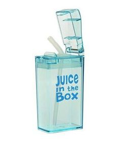 Juice in the Box Reusable Juice Box: This reusable plastic container is easy to open, spill-proof, and fits comfortably in most lunchboxes.