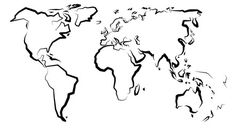 Znalezione obrazy dla zapytania kontur mapy świata rysunek