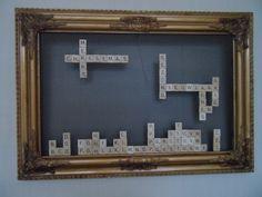 Scrabble blokjes met magneten in lijst