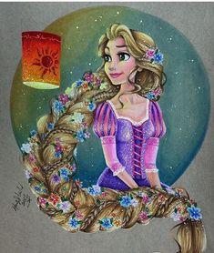 Disney princess art: rapunzel - disney princess drawings by max stephen. Deco Disney, Arte Disney, Disney Magic, Punk Disney, Disney Artwork, Disney Fan Art, Disney Drawings, Drawing Disney, Rapunzel Drawing