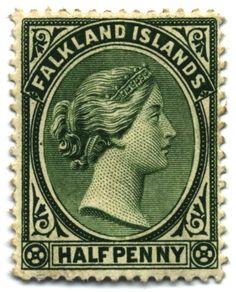 Sello de las islas Malvinas de 1/2 penique del año 1891. La venta de sellos postales contribuye a la economía de los isleños. ◆Islas Malvinas - Wikipedia http://es.wikipedia.org/wiki/Islas_Malvinas #Falkland_Islands #Islas_Malvinas