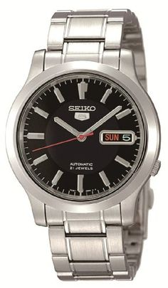 9d174704f Seiko Mens Seiko 5 Automatic Stainless Steel Watch with Black Dial >>>  Details can be found by clicking on the image. (This is an affiliate link)