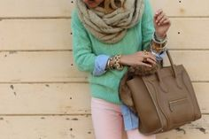 Loving the pastels. Weekend Wear, Casual Weekend, Curiosity Killed The Cat, Cool Style, My Style, Soft Colors, Dress Me Up, Fashion Details, Fashion Beauty