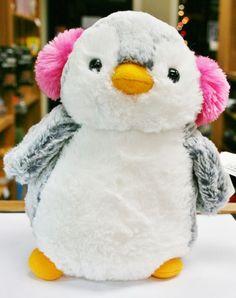 "Aurora 8"" POMPOM PENGUIN with pink EAR MUFFS stuffed animal winter snow plush #Aurora"