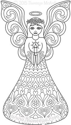 Color Christmas Coloring Book Angel By Thaneeya