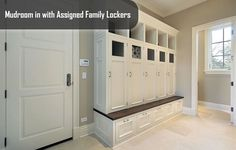 Collection of 22 incredible mudroom ideas, all with storage lockers and/or benches. Mudroom storage helps keep your home entry organized and clutter-free. Built In Lockers, Wood Lockers, Entry Lockers, Garage Lockers, Wooden Doors, Mudroom Laundry Room, Laundry Room Design, Mudroom Cabinets, Mudroom Cubbies