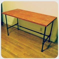 DIY steel pipe and wood desk