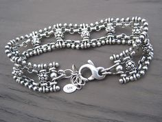 Sterling Silver Bracelet Chain and Bali Bead