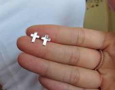 Tiny Sterling Silver Cross Ear Studs Cartilage by GreatJewelry4All, $8.00