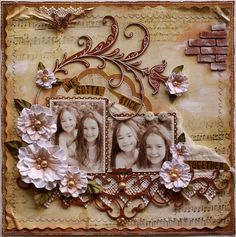 Scrapbook layout made for my TCR and Dusty Attic design team.  Papers are #Bo Bunny Et Cetera.  Blooms are handmade (tutorial can be found on my blog)