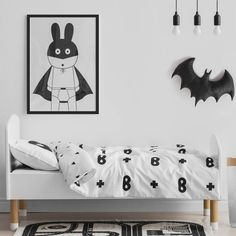 Are you interested in our monochrome kids superhero bedding ? With our cot bed single duvet cover you need look no further.
