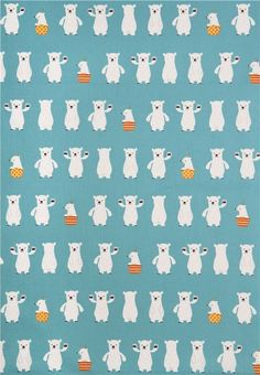 blue polar bear Canvas fabric from Japan 2