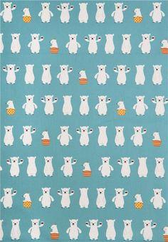blue polar bear Canvas fabric from Japan 2