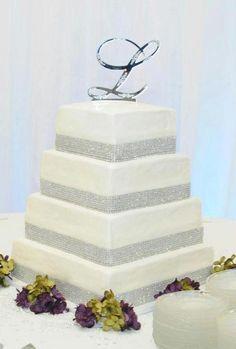 Two Tier bling Wedding Cakes Bling Wedding Cakes, Unusual Wedding Cakes, Funny Wedding Cakes, Square Wedding Cakes, Wedding Types, Wedding Things, Wedding Stuff, Perfect Wedding, Dream Wedding
