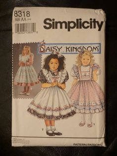 Classic Daisy Kingdom Girl's Easter Dress with Pinafore, Party Dress Pattern, Simplicity 8318 Vintage: 1992   #alittlelemonadestand