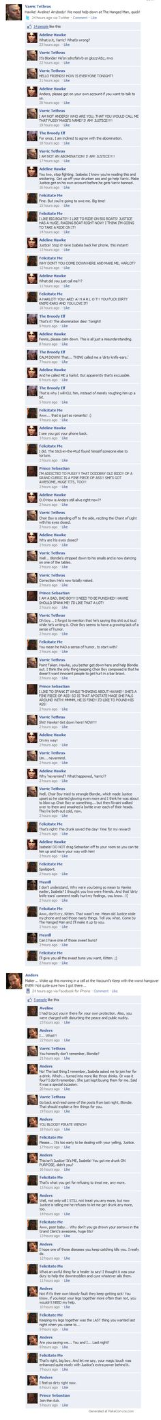 If the DA 2 crew had facebook. Even though I hate facebook for this reason, somehow seeing it with Dragon Age characters made this quite enjoyable.