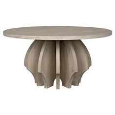 Constructed from reclaimed douglas fir wood White Furniture, Custom Furniture, Douglas Fir Wood, Round Pedestal Dining Table, Wood Rounds, Weathered Wood, Rustic Chic, Interior Design, Grey Wash