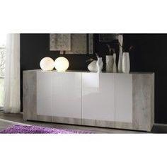 #Madia 4 ante #design moderno L 210 cm finitura mista essenza pino e laccato lucido - Art 1457 #mobili #arredamento #arredi