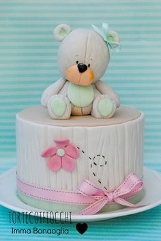 Bear cake Baby Cakes, Baby Shower Cakes, Girl Cakes, Cupcake Cakes, Teddy Bear Cakes, Fantasy Cake, Birthday Cake Girls, Birthday Cakes, Just Cakes