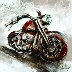 """""""Easy"""" Bike Oil Painting on a Canvas Surface Wall Nails, Simple Oil Painting, Ernesto Che, Wood Bars, Vintage Industrial, Vintage Decor, 3 D, Unique Gifts, Hand Painted"""