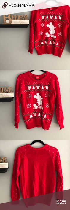 Disney Mickey Mouse Knit Christmas Sweater Soft sweater with fuzzy outline of Mickey Mouse. In new condition. Disney Sweaters