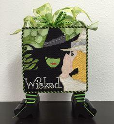 Wicked needlepoint, Raymond Crawford canvas, Napa Needlepoint stitch guide -- great finishing