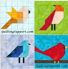 10 Inch Birds Set 1 Paper Piecing Foundation Block Quilting Patterns - Patchwork & Quilting at Makerist New York Beauty Quilt Set 2 Paper Foundation Piecing Quilting 4 Block Patterns PDF This item is unavailable Paper Pieced Quilt Patterns, Machine Quilting Patterns, Barn Quilt Patterns, Pattern Blocks, Patchwork Quilting, Patchwork Patterns, Bird Patterns, Bird Quilt Blocks, Quilt Set