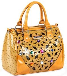Nicole Lee Suzy Lucy Laser Cut Satchel Handbag MUSTARD YELLOW,