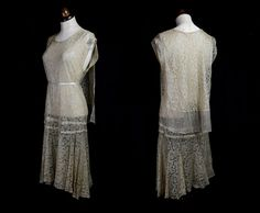 RESERVED Original Vintage 1920s Champagne Lace Flapper Wedding Dress - small - FREE SHIPPING