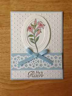 Stampin Up Easter Day card  spring lilies by treehouse05 on Etsy, $4.00
