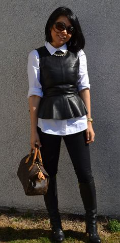 Discover and organize outfit ideas for your clothes. Decide your daily outfit with your wardrobe clothes, and discover the most inspiring personal style Leather Peplum, Black Faux Leather, Leather Jacket, Business Attire, Autumn Fashion, Casual Outfits, Fall Winter, Dressing, Punk