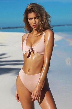 Floralkini Solid Color Tie Front High Waist Bikini Set – FloralKini